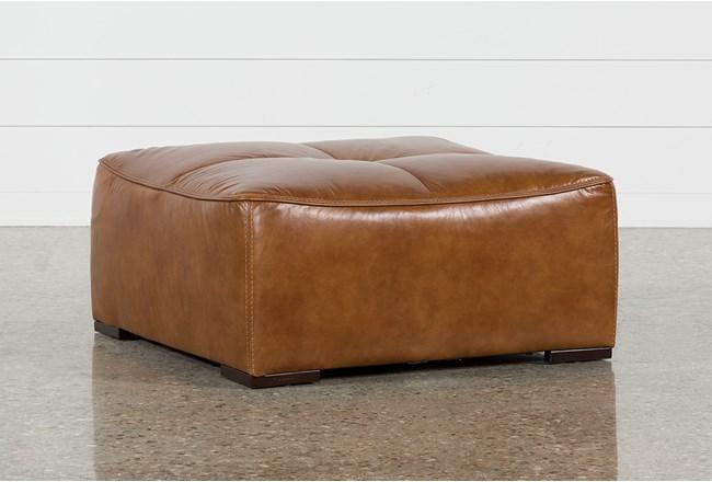 Burton Leather Cocktail Ottoman - 360