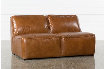 "Burton Leather Armless 62"" Loveseat"
