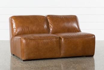 "Burton Leather Armless 62"" Loveseat"