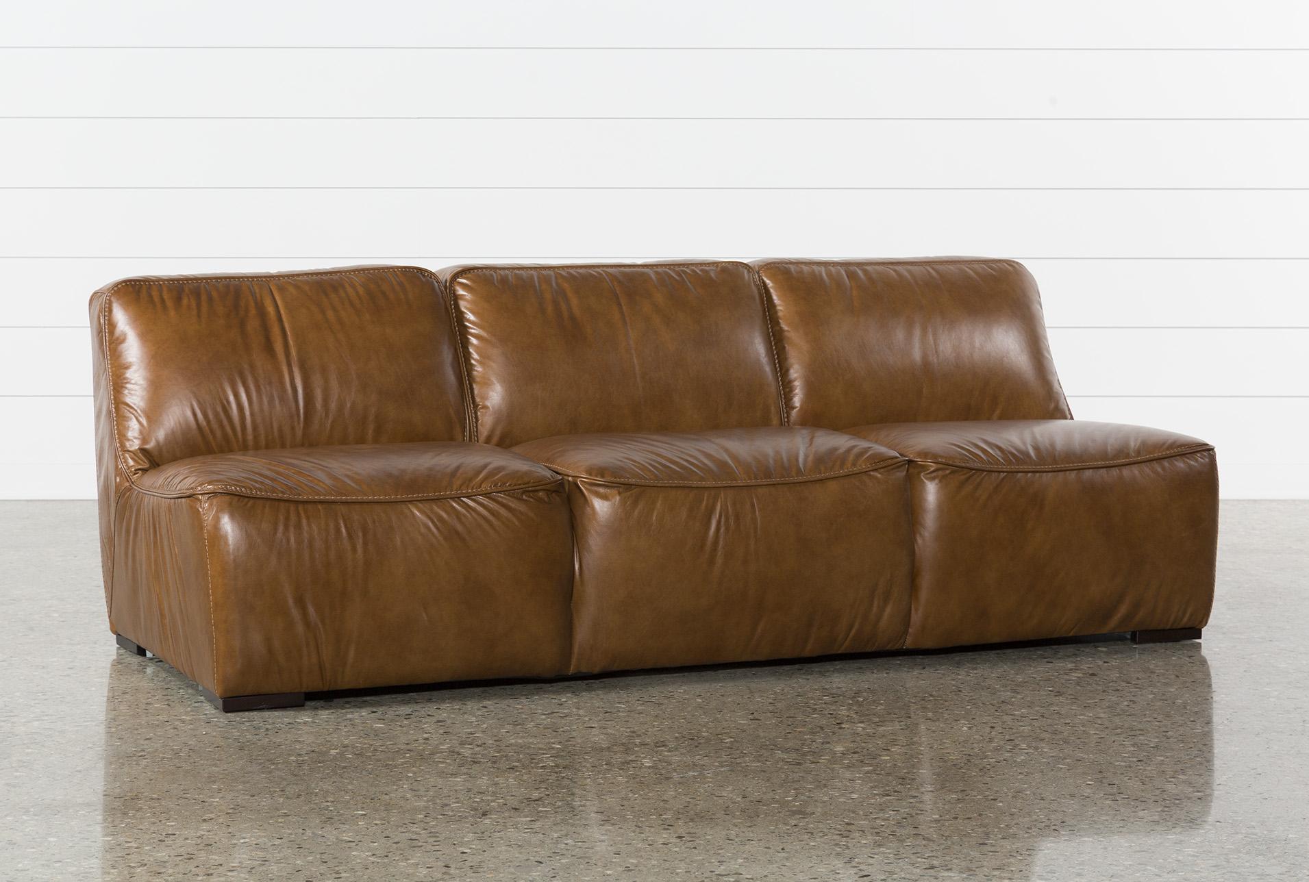 burton leather armless sofa living spaces rh livingspaces com leather sofa burton on trent Bungalow Burton Sofa