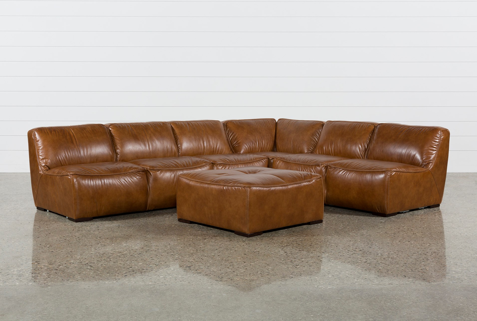 Burton Leather 3 Piece Sectional W Ottoman Qty 1 Has Been Successfully Added To Your Cart
