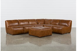 Burton Leather 3 Piece Sectional With Ottoman