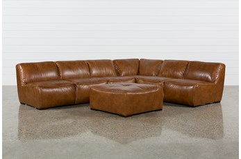"Burton Leather 3 Piece 132"" Sectional With Ottoman"