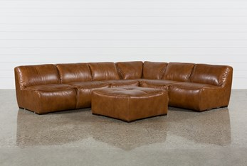 """Burton Leather 3 Piece 132"""" Sectional And Ottoman"""