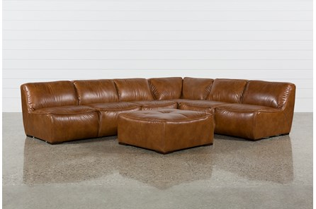 Burton Leather 3 Piece Sectional W/Ottoman