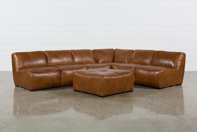 """Burton Leather 3 Piece 132"""" Sectional And Ottoman - 360"""