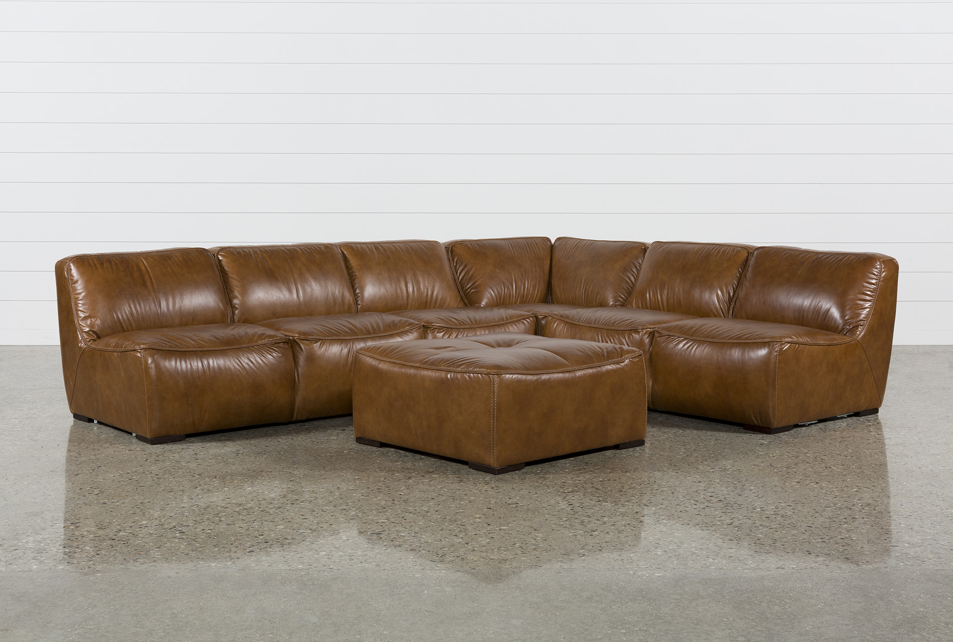 Burton Leather 3 Piece Sectional W/Ottoman (Qty: 1) Has Been Successfully  Added To Your Cart.