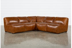 "Burton Leather 3 Piece 103"" Sectional With 2 Loveseats"