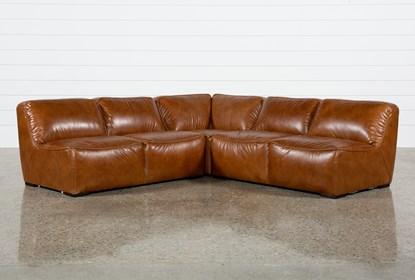 Burton Leather 3 Piece Sectional W/2 Loveseats