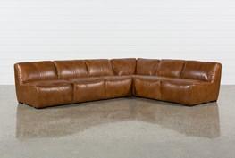 "Burton Leather 3 Piece 132"" Sectional"