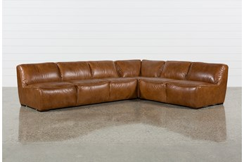 "Burton Leather 3 Piece 132"" Sectional"