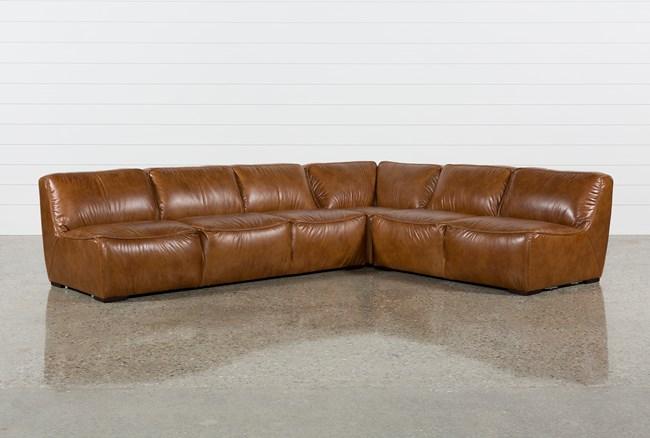 "Burton Leather 3 Piece 132"" Sectional - 360"