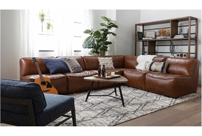 Burton Leather 3 Piece 132 Sectional Living Spaces