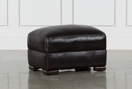 Grandin Blackberry Leather Ottoman
