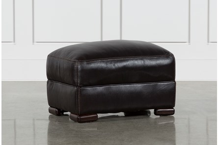 Grandin Blackberry Leather Ottoman - Main