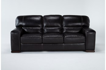 "Grandin Blackberry Leather 89"" Sofa"