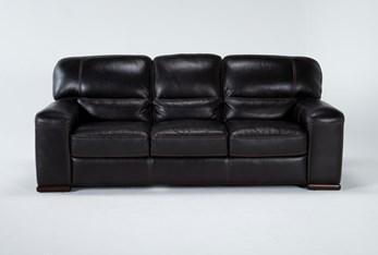 "Grandin Blackberry Leather 89"" Sofa"