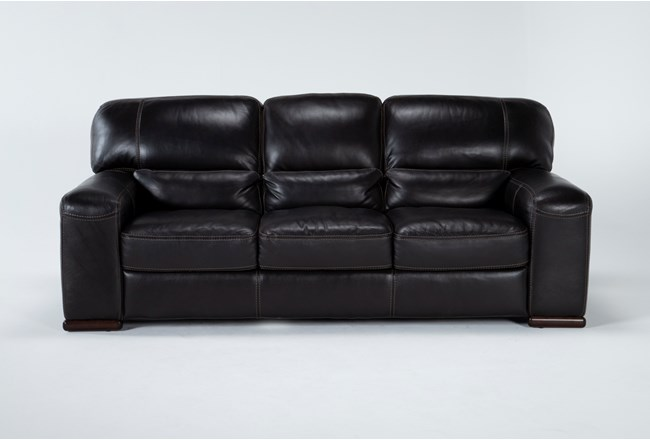 Grandin Blackberry Leather Sofa - 360