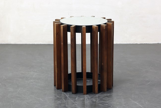 Round Industrial End Table - 360