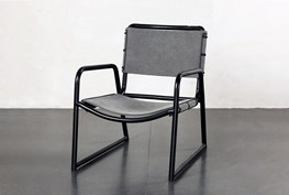 Grey Accent Chair With Metal Frame