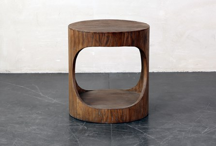 Round Wood Open Center End Table