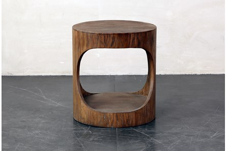 Round Wood Open Center End Table - Main