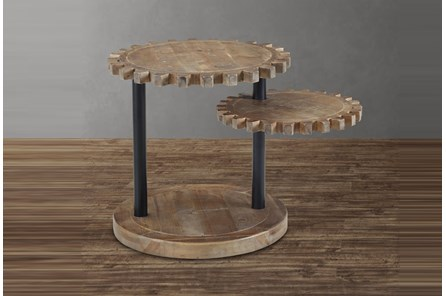 Wood Gear Multi Level End Table
