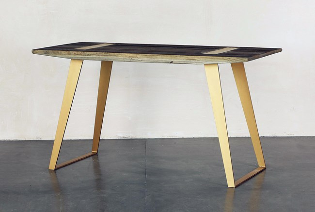 Wood Desk With Brass Legs - 360