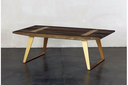 Rectangular Coffee Table With Brass Legs - Main