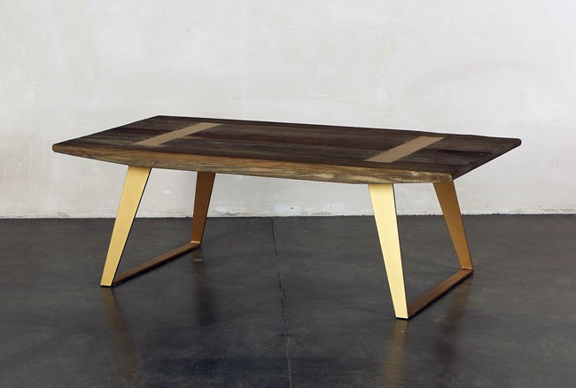 Rectangular Coffee Table With Brass Legs - 360