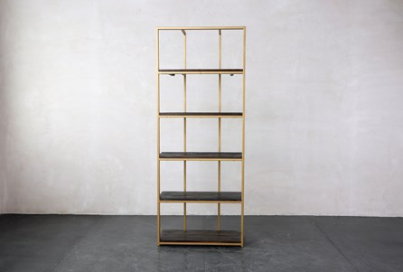 Wood And Brass Bookcase