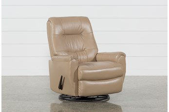 Rogan II Leather Cafe Latte Swivel Glider Recliner