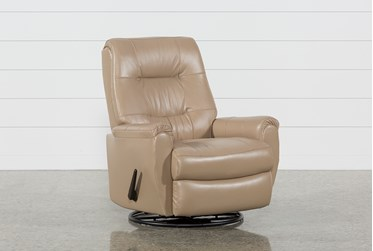 Rogan II Leather Cafe Latte Swivel Glider Recliner
