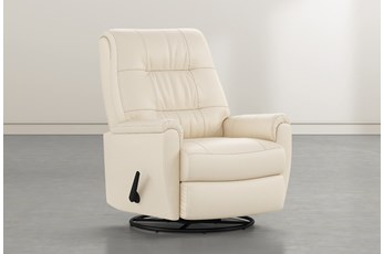 Rogan II Leather Cream Swivel Glider Recliner