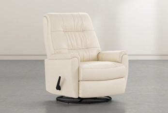 Rogan II Leather Cream Swivel Glider Recliner