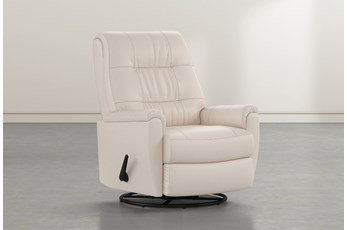 Rogan II Leather Beige Swivel Glider Recliner