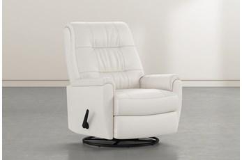 Rogan II Leather White Swivel Glider Recliner