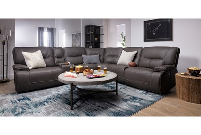 Remarkable Marcus Grey 6 Piece Sectional With Power Headrest Usb Gmtry Best Dining Table And Chair Ideas Images Gmtryco