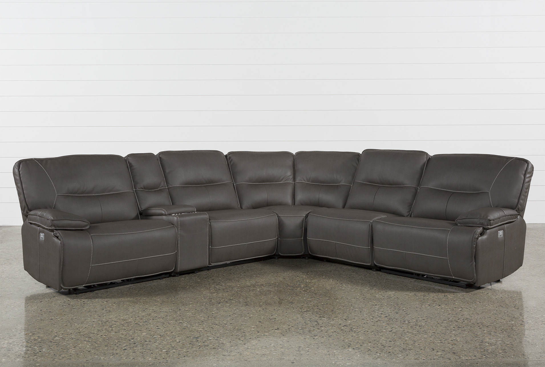 marcus grey 6 piece sectional with power headrest usb living spaces rh livingspaces com 6 pc sectional sofa 6 pc sectional sofa