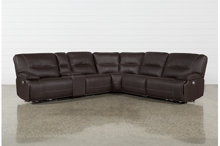 Marcus Chocolate 6 Piece Sectional W Headrest And Usb