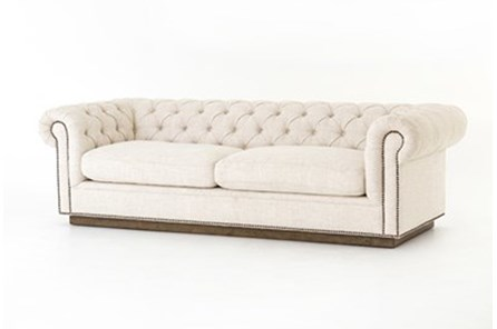 White Tufted Sofa With Studs - Main