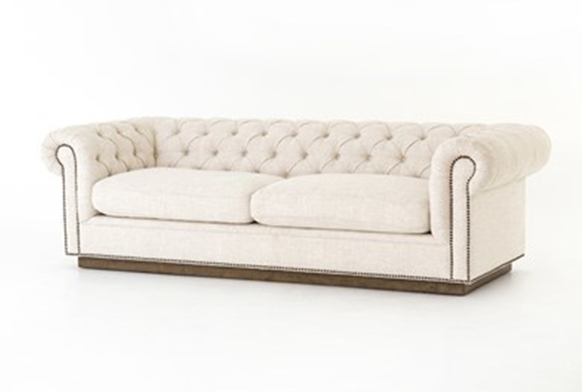 White Tufted Sofa With Studs   360 Elements