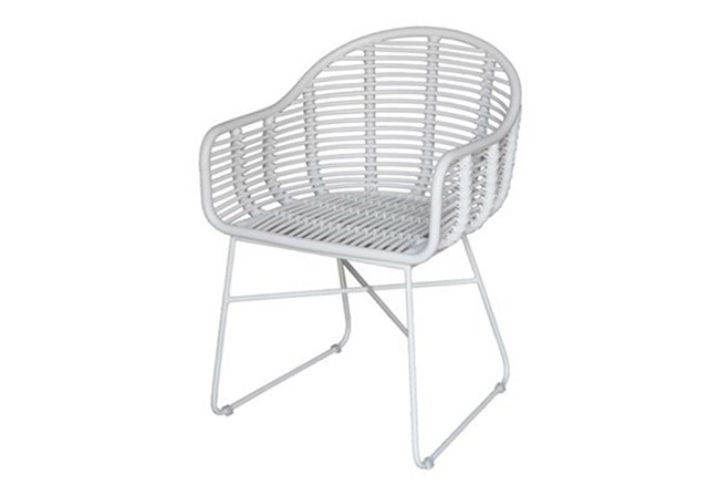 White Modern Wicker Chair - 360