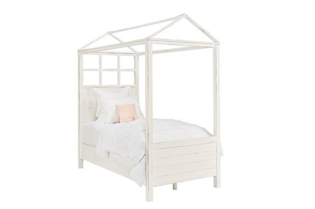 Magnolia Home Playhouse Jo'S White Twin Canopy Bed By Joanna Gaines - Main