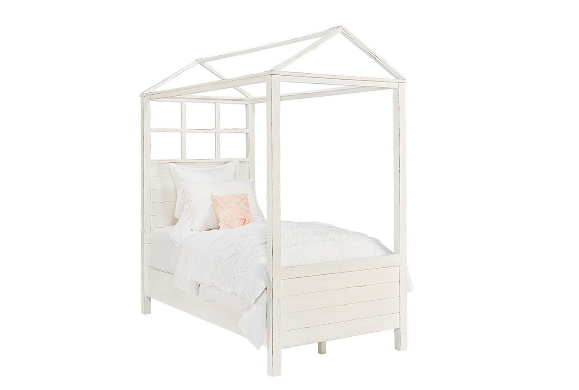 Magnolia Home Playhouse Jou0027S White Twin Canopy Bed By Joanna Gaines