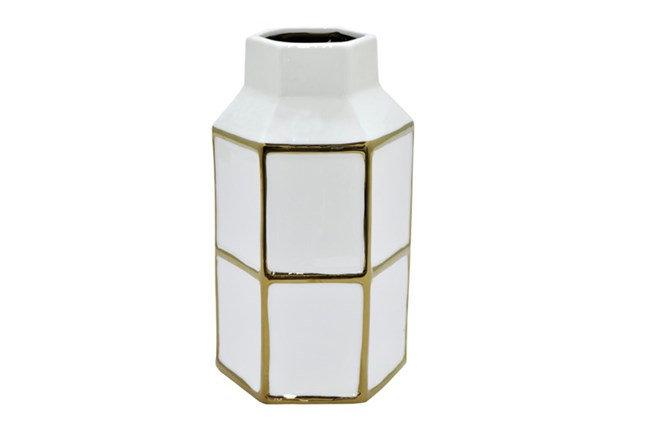 10 Inch White And Gold Vase - 360
