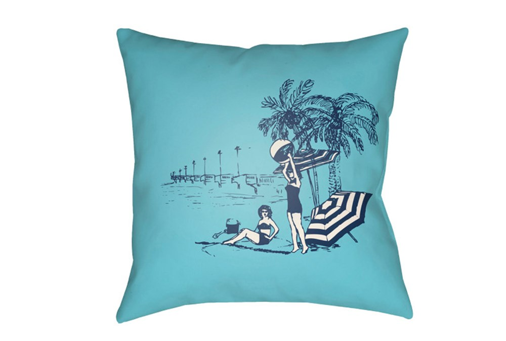 Outdoor Accent Pillow-Aqua Vintage Beach 18X18