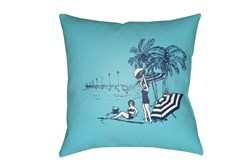 Outdoor Accent Pillow-Aqua Vintage Beach 18X18
