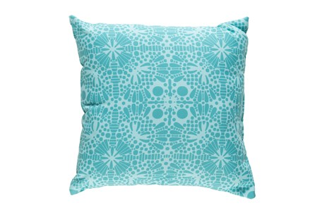 Outdoor Accent Pillow-Henna Pattern Aqua 18X18