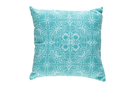 Outdoor Accent Pillow-Henna Pattern Aqua 18X18 - Main